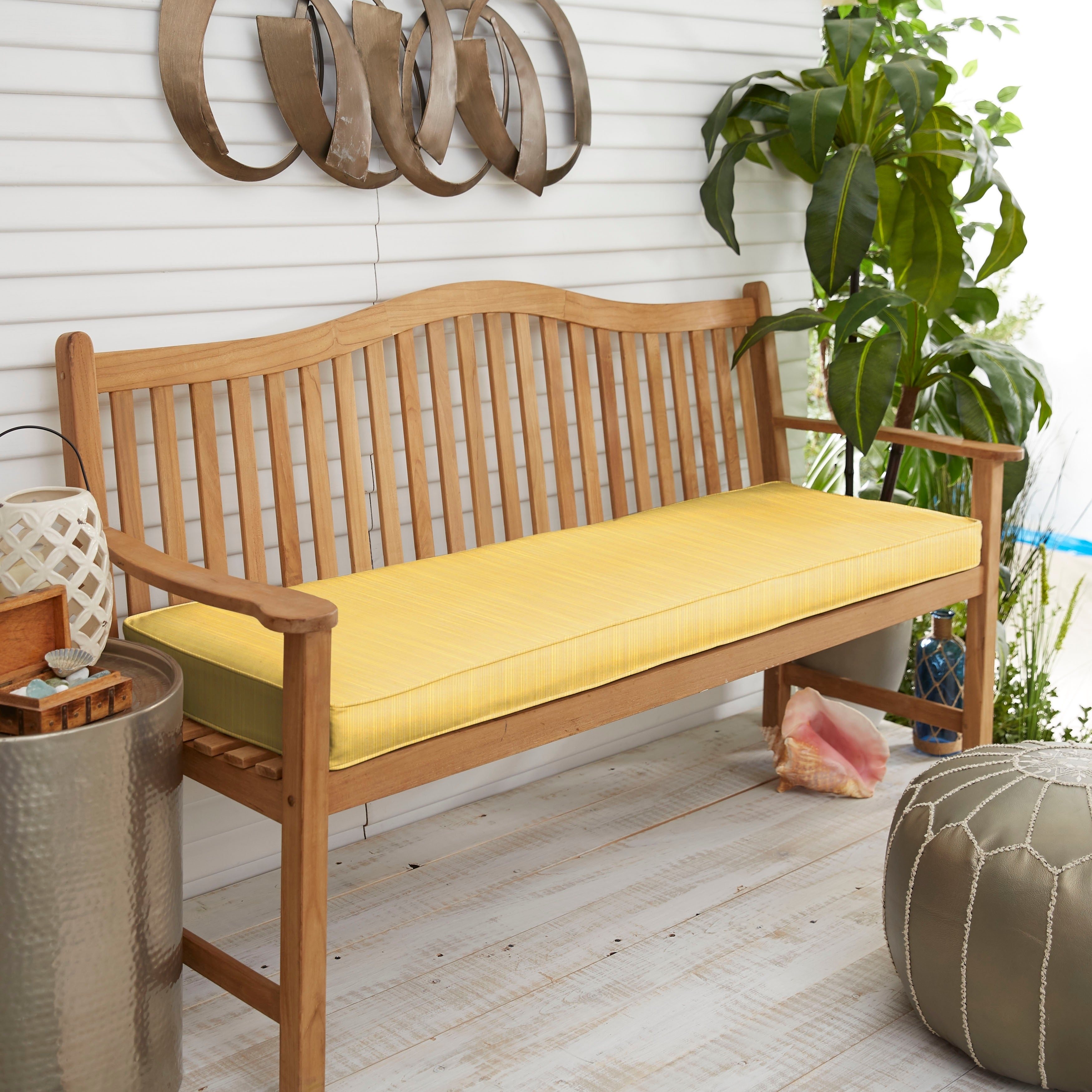 Picture of: Shop Black Friday Deals On Sunbrella Indoor Outdoor Textured Bright 48 Inch Bench Cushion Overstock 4817633