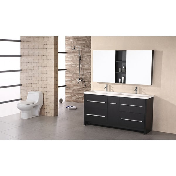 Design Element Perfecta Modern Double Sink Bathroom Vanity Set