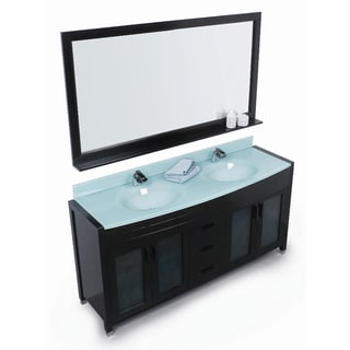 Design Element Waterfall 61-inch Double Sink Bathroom Vanity Set