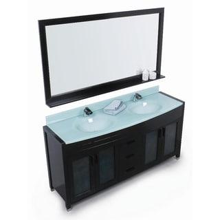 Wyndham collection daytona espresso 63 inch solid oak double bathroom - Wall Mirror Bathroom Vanities Amp Vanity Cabinets Shop The