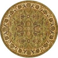 Safavieh Handmade Classic Jaipur Green/ Ivory Wool Rug (8' Round) - 8' x 8'