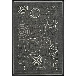 Safavieh Ocean Swirls Black/ Sand Indoor/ Outdoor Rug (5'3 x 7'7)