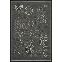 Safavieh Ocean Swirls Black/ Sand Indoor/ Outdoor Rug - 6'7 x 9'6
