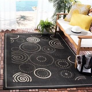 """Safavieh Ocean Swirls Black/ Sand Indoor/ Outdoor Rug - 6'7"""" x 9'6"""""""