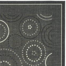 Safavieh Ocean Swirls Black/ Sand Indoor/ Outdoor Rug (8' x 11')
