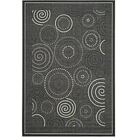 Safavieh Ocean Swirls Black/ Sand Indoor/ Outdoor Rug - 8' x 11'