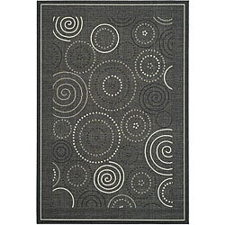 Safavieh Ocean Swirls Black/ Sand Indoor/ Outdoor Rug - 7'10 x 11'