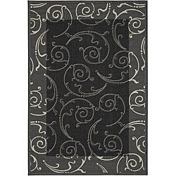 Safavieh Oasis Scrollwork Black/ Sand Indoor/ Outdoor Rug (2'7 x 5')
