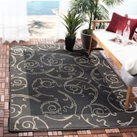 "Safavieh Oasis Scrollwork Black/ Sand Indoor/ Outdoor Rug - 2'-7"" x 5'"