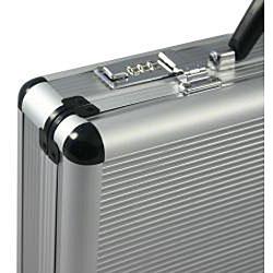 Fasano Aluminum Silver 4-inch-wide Attache Case - Thumbnail 2