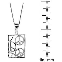 Sterling Silver Diamond Accent Cutout Peace Sign Necklace (H-I, I3) - Thumbnail 2