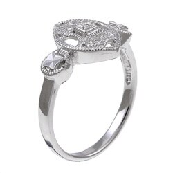 Sterling Silver Diamond Accent Vintage Marquise-shaped Ring - Thumbnail 1