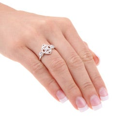 Sterling Silver Diamond Accent Vintage Marquise-shaped Ring - Thumbnail 2