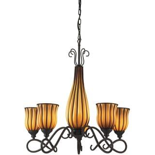 Dark Rust/ Amber Glass 5-light Chandelier