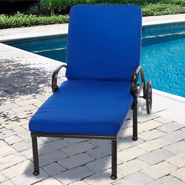 Indoor outdoor 25 wide chaise lounge cushion with for Blue chaise lounge indoor