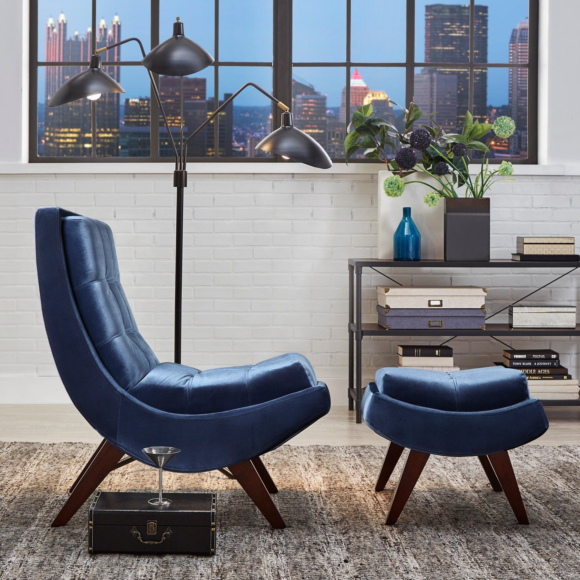 Albury Two Tone Lounging Chair With Ottoman By Inspire Q Bold