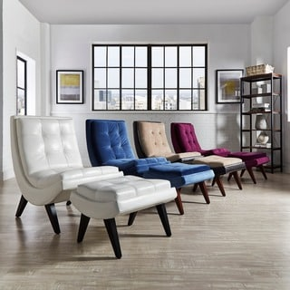 Albury Two-Tone Lounging Chair with Ottoman by INSPIRE Q
