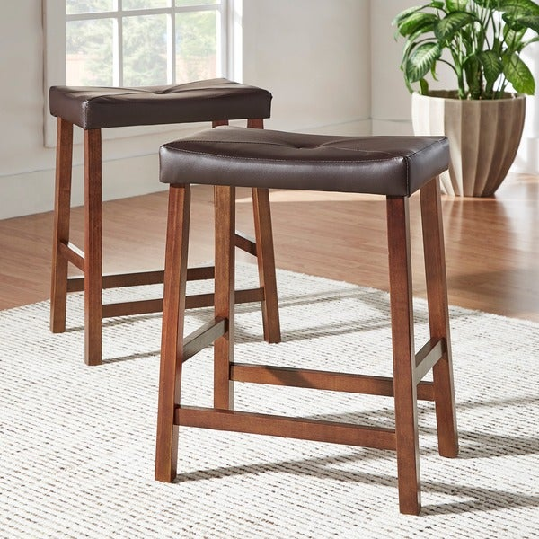 2 Saddle Stool Counter Vanity Wooden Bar Wood Kitchen