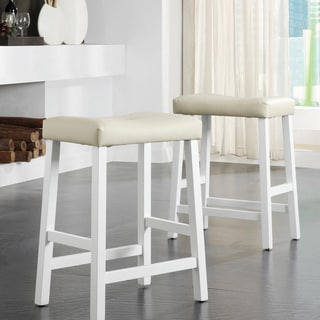 TRIBECCA HOME Nova White Saddle Cushioned Seat 24-inch Barstools (Set of 2)