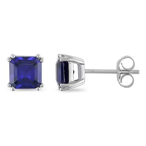 Miadora 10k White Gold Created Sapphire Earrings