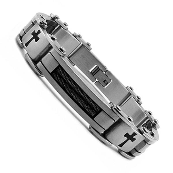 Oliveti Stainless Steel Black Cables and Resin Cross Bracelet