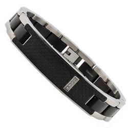 Oliveti Men's Titanium Cubic Zirconia and Carbon Fiber ID Bracelet