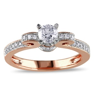 Miadora 14k Rose Gold 1/2ct TDW Diamond Bow Ring