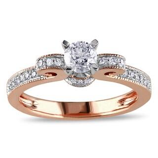Miadora 14k Rose Gold 1/2ct TDW Diamond Bow Ring (H-I, I2-I3)