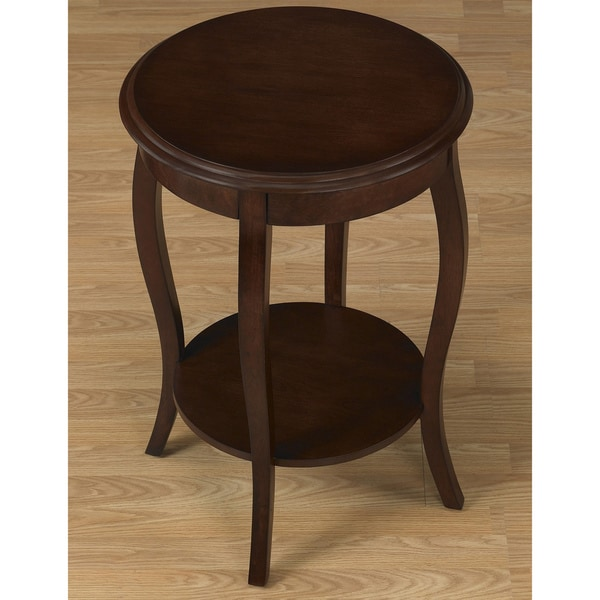Walnut 18 Inch Round Accent Table   Free Shipping Today   Overstock.com    12712820