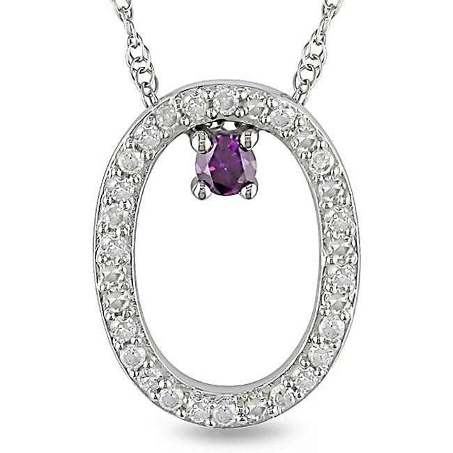 Miadora 10k White Gold 1/6ct Pink and White Diamond Oval Necklace