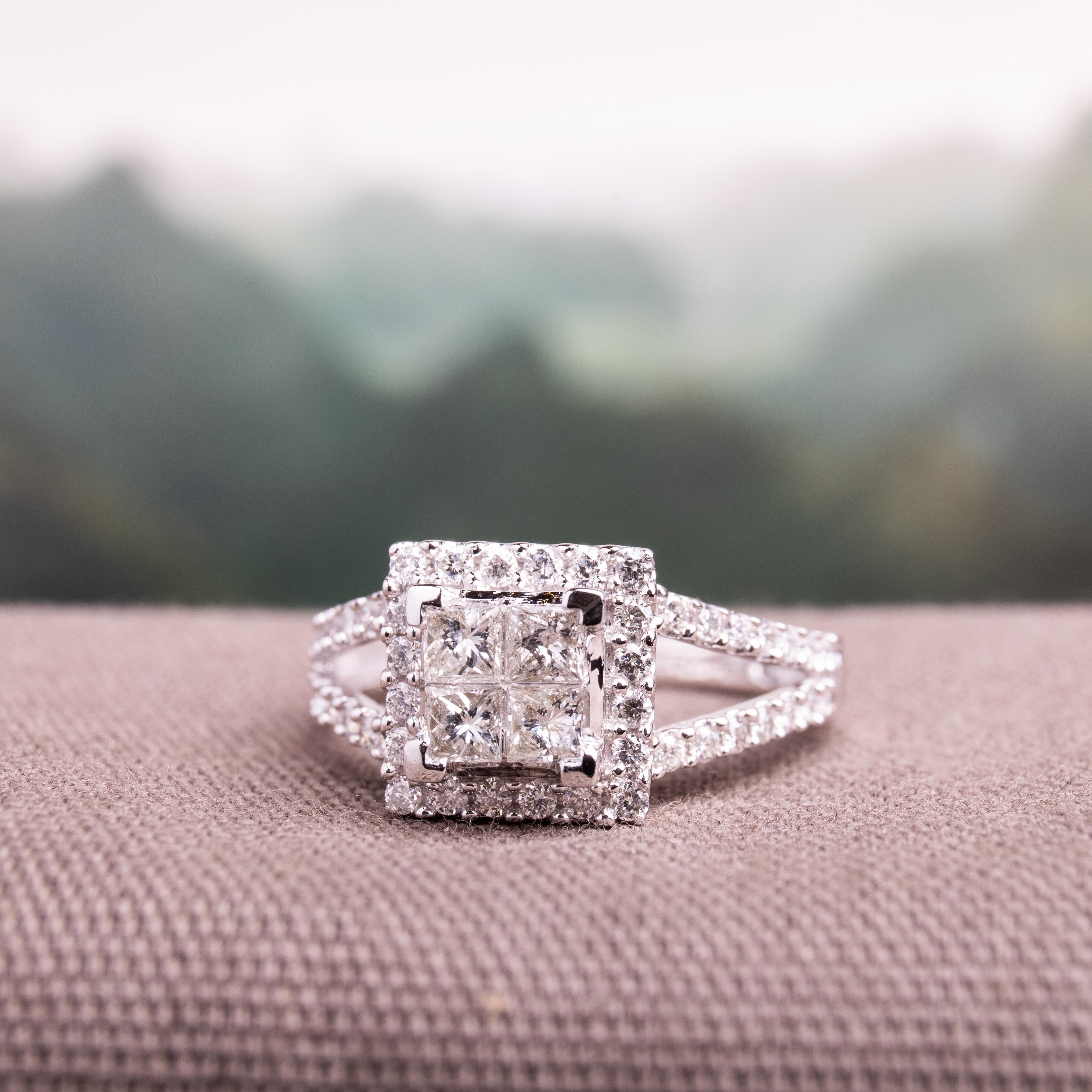 Shop Miadora Signature Collection 14k White Gold 1ct Tdw Diamond Princess Cut Halo Engagement Ring Overstock 4820144