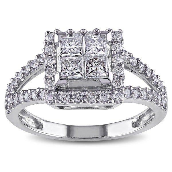 Miadora Signature Collection 14k White Gold 1ct TDW Diamond Princess Cut Halo Engagement Ring (H-I, I2-I3)