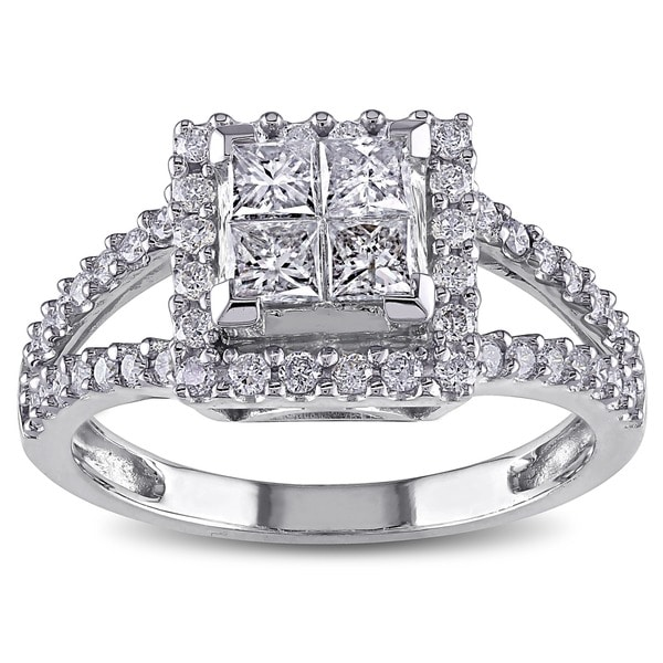 Miadora Signature Collection 14k White Gold 1ct TDW Diamond Princess Cut Halo Engagement Ring