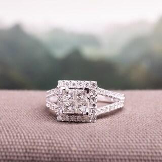 Miadora Signature Collection 14k White Gold 1ct TDW Diamond Princess Cut Halo Engagement Ring