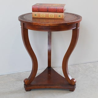 International Caravan Windsor Hand-carved 3-leg Hardwood Serpentine Table