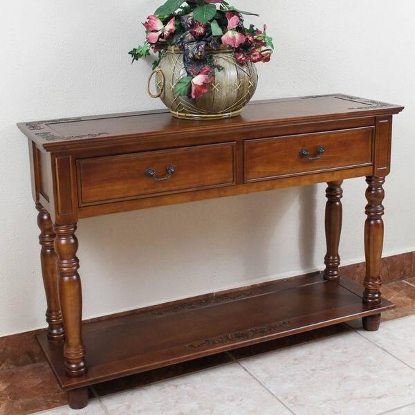International Caravan Windsor Hand Carved 2 Drawer Hardwood Console Table