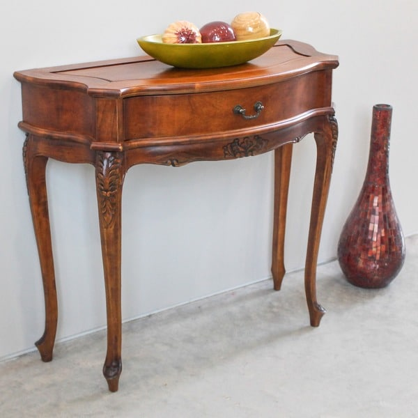International Caravan Windsor Hand-carved One-drawer Wood Hall Table