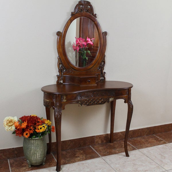 International Caravan Windsor Hand-carved Kidney-shaped Vanity Desk with Mirror