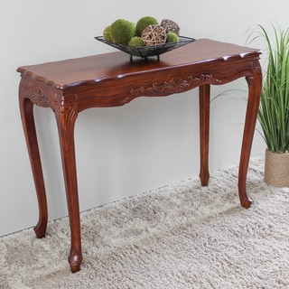 International Caravan Windsor Hand-carved Wood Scalloped Hall Table