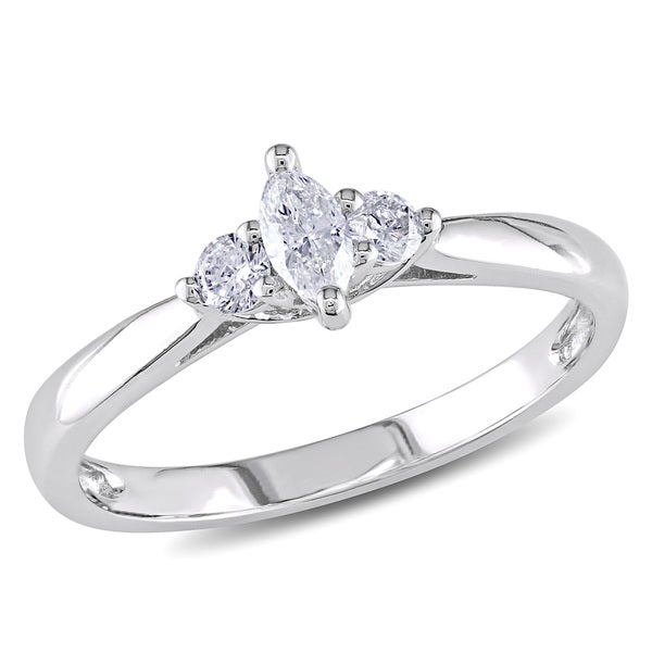 Miadora 10k White Gold 1/4ct TDW Marquise Diamond Ring