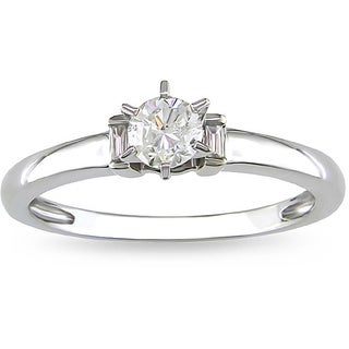 Miadora 14k White Gold 1/3ct TDW Diamond Solitaire Engagement Ring (G-H, I1-I2)