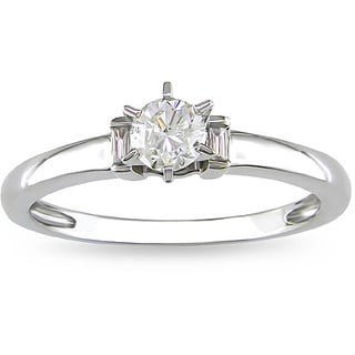 Miadora 14k White Gold 1/3ct TDW Diamond Solitaire Engagement Ring