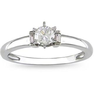 Miadora 14k White Gold 1/3ct TDW Diamond Solitaire Engagement Ring (G-H, I1-I2)
