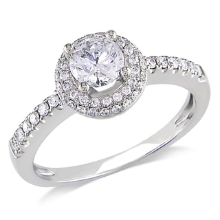 Miadora 14k White Gold 3/4ct TDW Diamond Engagement Ring