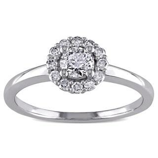 Miadora 14k White Gold 1/2ct TDW Diamond Halo Engagement Ring