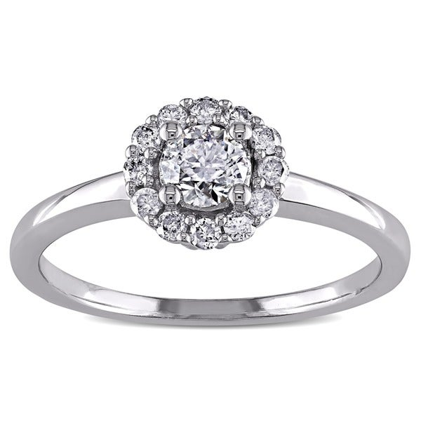 Miadora 14k White Gold 1/2ct TDW Diamond Halo Engagement Ring (H-I, I1-I2)