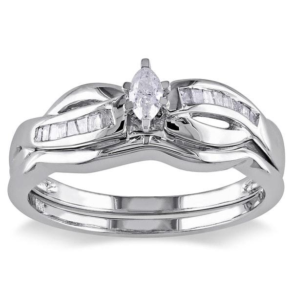 Miadora 14k Gold 1/4ct TDW Diamond Bridal Set