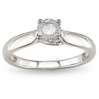 Miadora 14k White Gold 1/2ct TDW Diamond Solitaire Engagement Ring