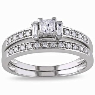 Miadora 14k White Gold 1/2ct TDW Diamond Princess Cut Bridal Ring Set