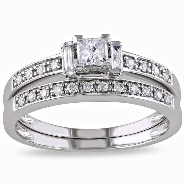 Miadora 14k White Gold 1/2ct TDW Diamond Princess Cut Bridal Ring Set